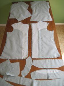 Jacket pieces underlined with silk organza.