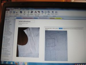 I'm starting to use OneNote to record notes and images of my projects, like this pattern alteration.