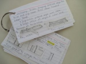Shirtmaking shorthand: instructions boiled down to index cards.