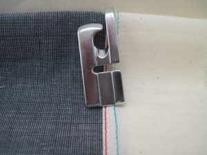 A properly made flat fell seam made with the 4mm foot. The groove in the bottom is the width of the seam