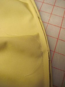 First row of stitching.