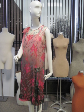 A 1920s dress adorning one of the mannequins in the Goldstein Museum's offices.