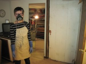 In my hazmat suit: apron, dust mask, rubber gloves.