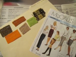 McCall's 3830, with swatches of previous skirts made.