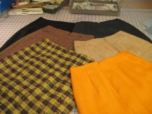 The fruits of my artistic labors: six skirts.