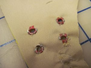 but they're not securely attached. I resorted to buttonholes for the drawstring openings.
