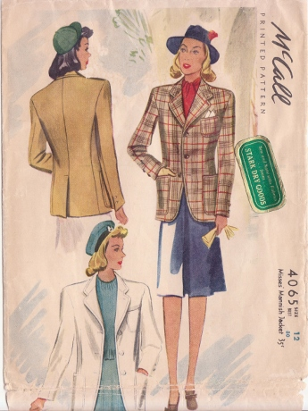 """From 1941, the """"Misses' Mannish Jacket."""""""