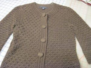 This sweater has lots of texture, which I like, and only a little bulk, which is good.