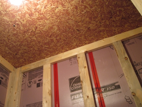 Daniel installed a cedar particle board, to repel insects.