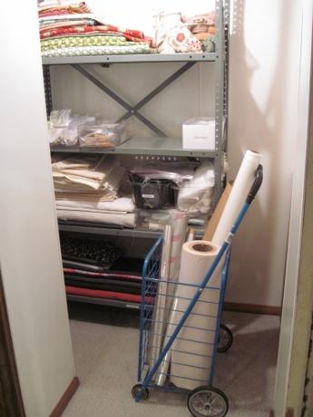 The shelves, all loaded.