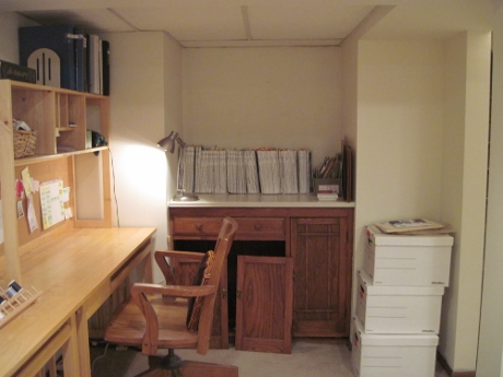 Next: This alcove awaits shelves to hold my sewing library. Bankers' boxes hold my patterns, waiting for editing.