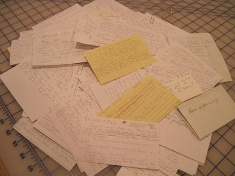 Scribble, scribble: a few of my idea cards.