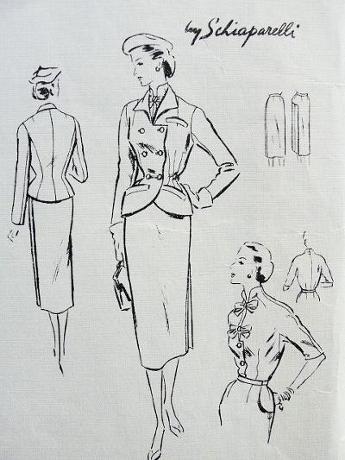 1952. Vogue Paris Original Model 1162. The jacket is gorgeous, but Schiaparelli made the blouse a stunner, too.