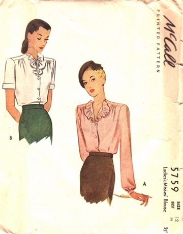 1944. The masculine shoulder line of the war years is balanced by gathers and frills.