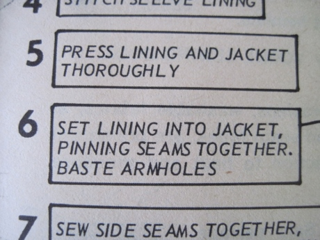 Here I will part ways with the instructions: I will NOT hand-sew the lining in, as was done back then.