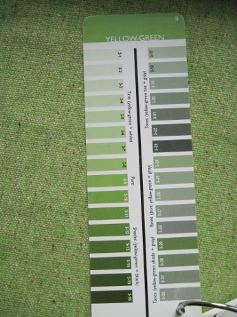 The mint green wool matches shades on the Yellow-Green card of the 3-in-1 Color Tool.