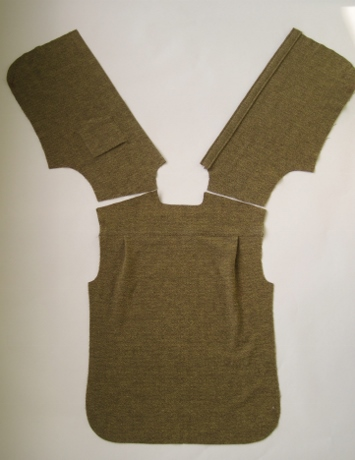 Lay the back and fronts right side up as they will lie as a finished shirt.