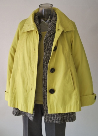 I threw on this favorite yellow raincoat just for fun. I'm looking at the color, first, and the lighthearted feel. I want that feel in the outfits I create with the Chunky Tweed Vintage Jacket.
