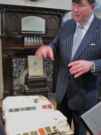 General Manager Peter Smith showed us an old book of swatches. Huntsman offers customers some fabrics woven exclusively for the firm in a limited run never to be repeated.