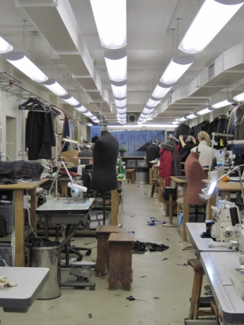 Downstairs, where the tailors work.