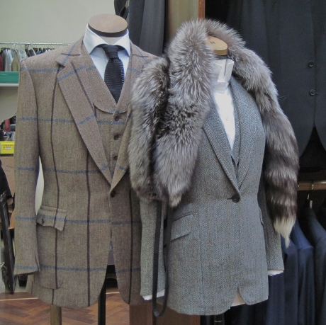 Examples of Huntsman's men's and women's tailoring.