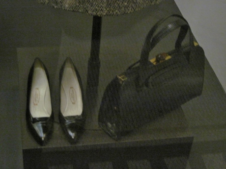 The shoes date from 1960; the lizard handbag from 1950.
