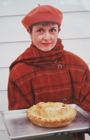 """In all my """"contrasting Autumn"""" glory, complete with a Thanksgiving apple pie. (From 2003 or 2004)"""