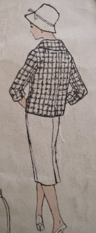 A bit hard to make out the lines of this jacket from the illustration. It has set-in sleeves, center back seam, and a vent. (I'm eliminating the vent.)