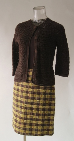 I wear this skirt with a very textured, bracelet-length sleeved sweater from Banana Republic.