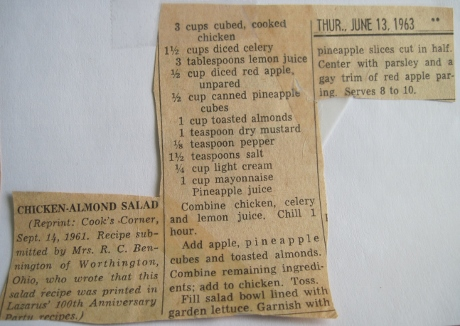 From my mom's reipe clippings: the famous chicken salad from the Chintz Room at Lazarus.