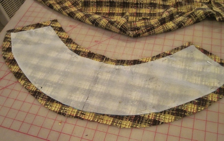 I cut about 1 inch away from the thread-marked edges. Just estimate--the excess will be trimmed soon.