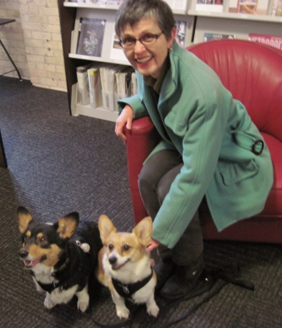 Penny and Loretta, office dogs and unofficial mascots of the American Craft Council, greeted me.