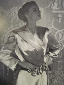 Detail of an advertisement for Sunbak: rayon satin backed with wool.