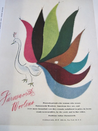 An advertisement from a woolens manufacturer--with real swatches.