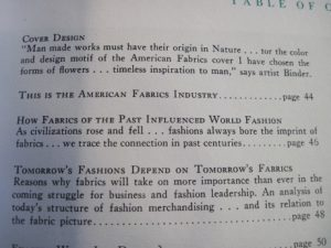 Detail of contents, American Fabrics, issue 1, Fall, 1946
