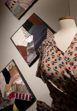 This blouse was identified from a scrap worked into a quilt square.