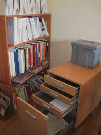 Someday I'll go through the clippings in that box and organize them in this Ikea file cart.