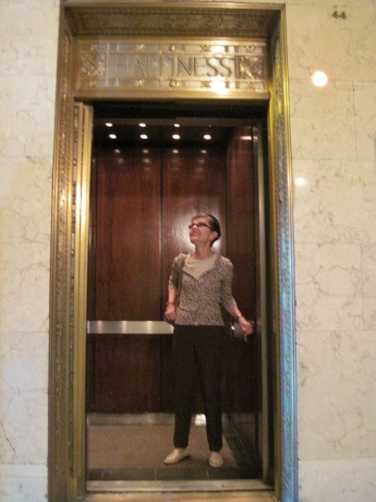 In the elevator of Columbus's great LeVeque Tower, built 1927.