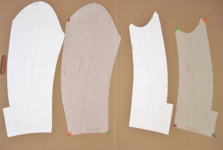 The upper sleeve lining pattern is cut without the little vent thing. Both sleeve linings will be cut shorter than the sleeves.
