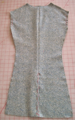 Jacket back, right side, with catch-stitched vent
