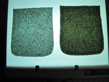 Laid out on my lightbox: Left, a pocket piece by itself. Right, a pocket piece with batiste under it.