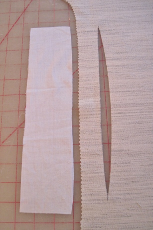 A muslin strip will be stitched under the dart.