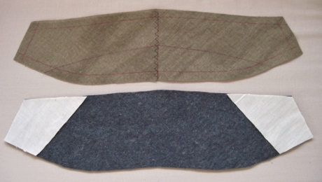 The undercollar canvas will be laid on top of the undercollar felt, sandwiching the muslin pieces.