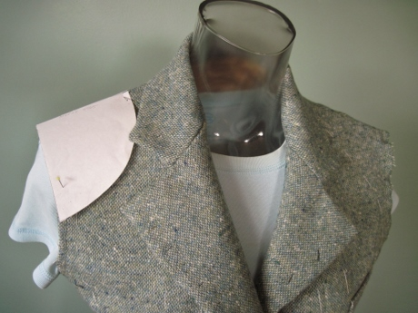 I have sewn this jacket pattern four times before and drafted a shoulder pad to fit, but Kenneth shows how to trim a commercial shoulder pad to fit.