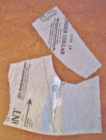 The photocopied pattern pieces, with seam allowances cut off.