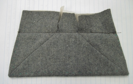 """The """"origami"""" pocket flap means no bulk at the edges because the seam allowances have been shifted out of sight. This is the back."""