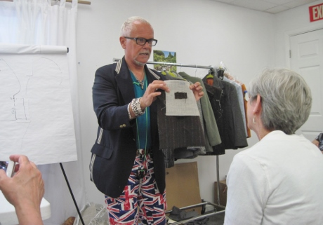 Kenneth demonstrated bound buttonholes and neatly finishing the facing. That's silk organza.