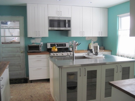 The kitchen, nearing completion.