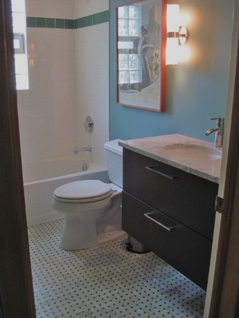 Downstairs bathroom, nearing completion.