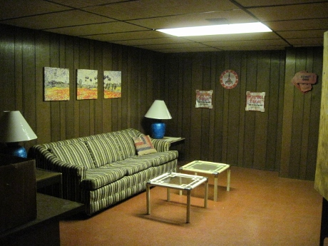 The basement rec room when the house was staged for sale.